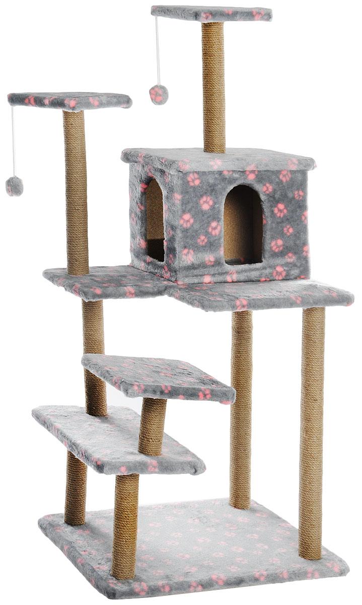 Игровой комплекс для кошек Меридиан Семейный, цвет: серый, розовый, 70 х 65 х 150 смД162Ла_серый, розовые лапкиИгровой комплекс для кошек Меридиан Семейный, цвет: серый, розовый, 70 х 65 х 150 см