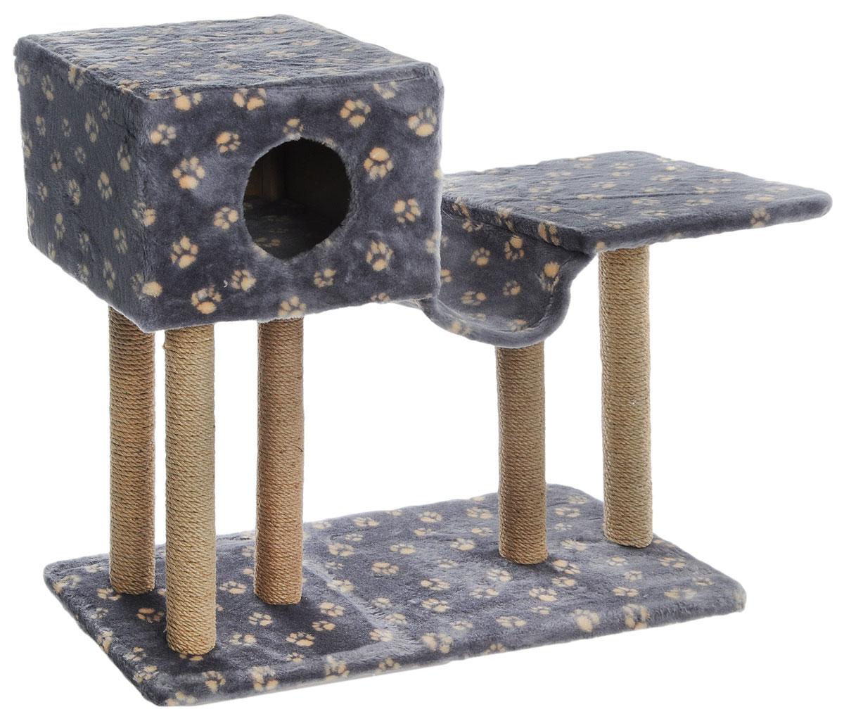 Игровой комплекс для кошек Меридиан, с домиком и гамаком, цвет: серый, бежевый, 90 х 40 х 80Д126_серый, бежевый лапкиИгровой комплекс для кошек Меридиан, с домиком и гамаком, цвет: серый, бежевый, 90 х 40 х 80