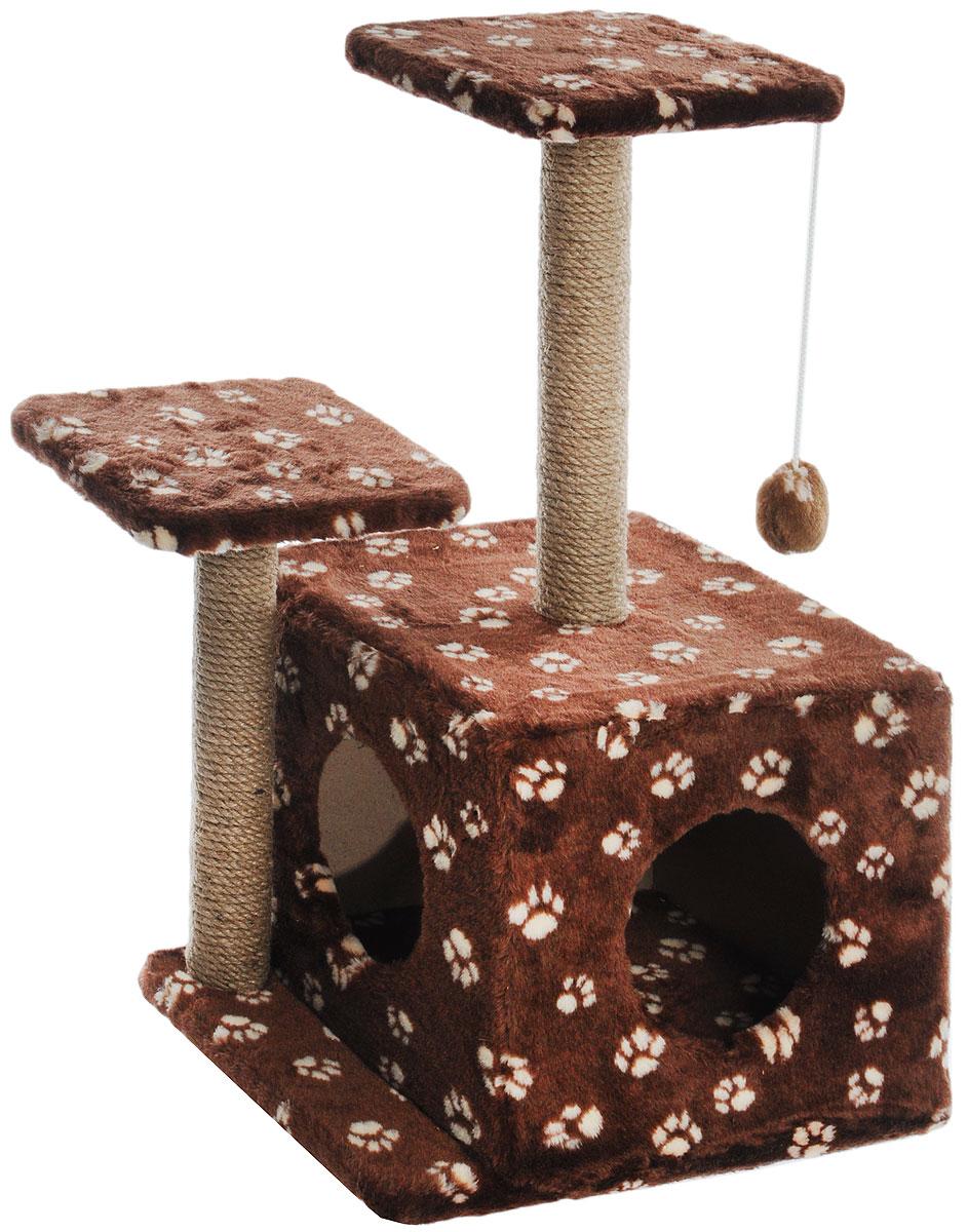 Игровой комплекс для кошек Меридиан, с домиком и когтеточкой, цвет: темно-коричневый, белый, бежевый, 45 х 47 х 75 смД131 _темно-коричневый, белый лапкиИгровой комплекс для кошек Меридиан выполнен из высококачественного ДВП и ДСП и обтянут искусственным мехом. Изделие предназначено для кошек. Ваш домашний питомец будет с удовольствием точить когти о специальный столбик, изготовленный из джута. А отдохнуть он сможет либо на полках разной высоты, либо в расположенном внизу домике. Также комплекс оснащен подвесной игрушкой, которая привлечет вашего питомца. Общий размер: 45 х 47 х 75см. Размер домика: 45 х 36 х 32 см. Высота полок (от пола): 75 см, 45 см. Размер полок: 26 х 26 см.