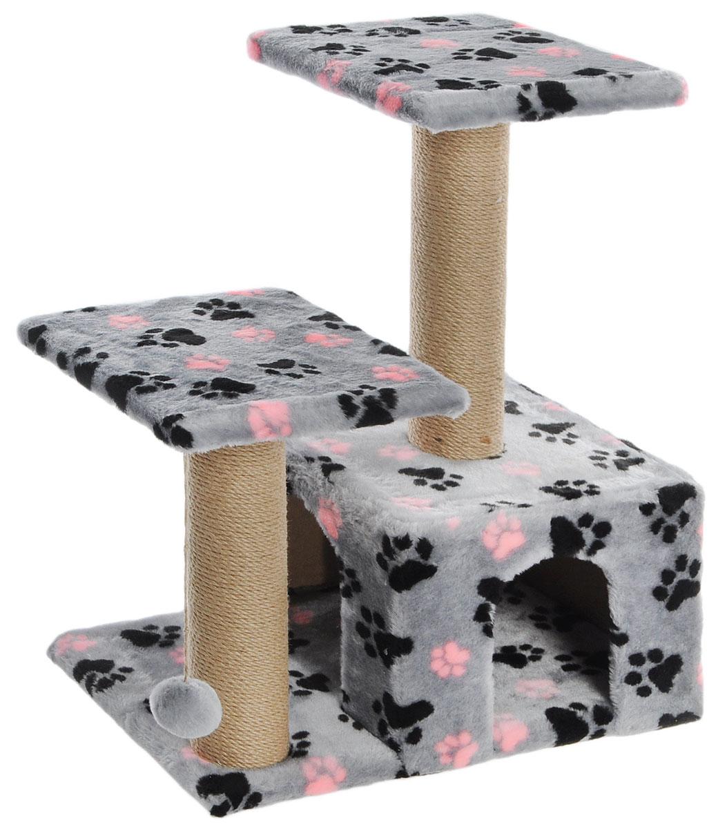 Игровой комплекс Гамма для кошек, двухуровневый, цвет: серый, 570 х 350 х 770 ммЩг-18700слапЭтот функциональный игровой комплекс для кошек станет любимым местом ваших питомцев. Комплекс состоит из двух джутовых столбиков, каждый диаметром 80мм, с двумя разноуровневыми платформами (300х300мм). Дополняет изделие уютный домик с просторным входом и мягкая игрушка на резинке. Размер основания: 570х350мм.