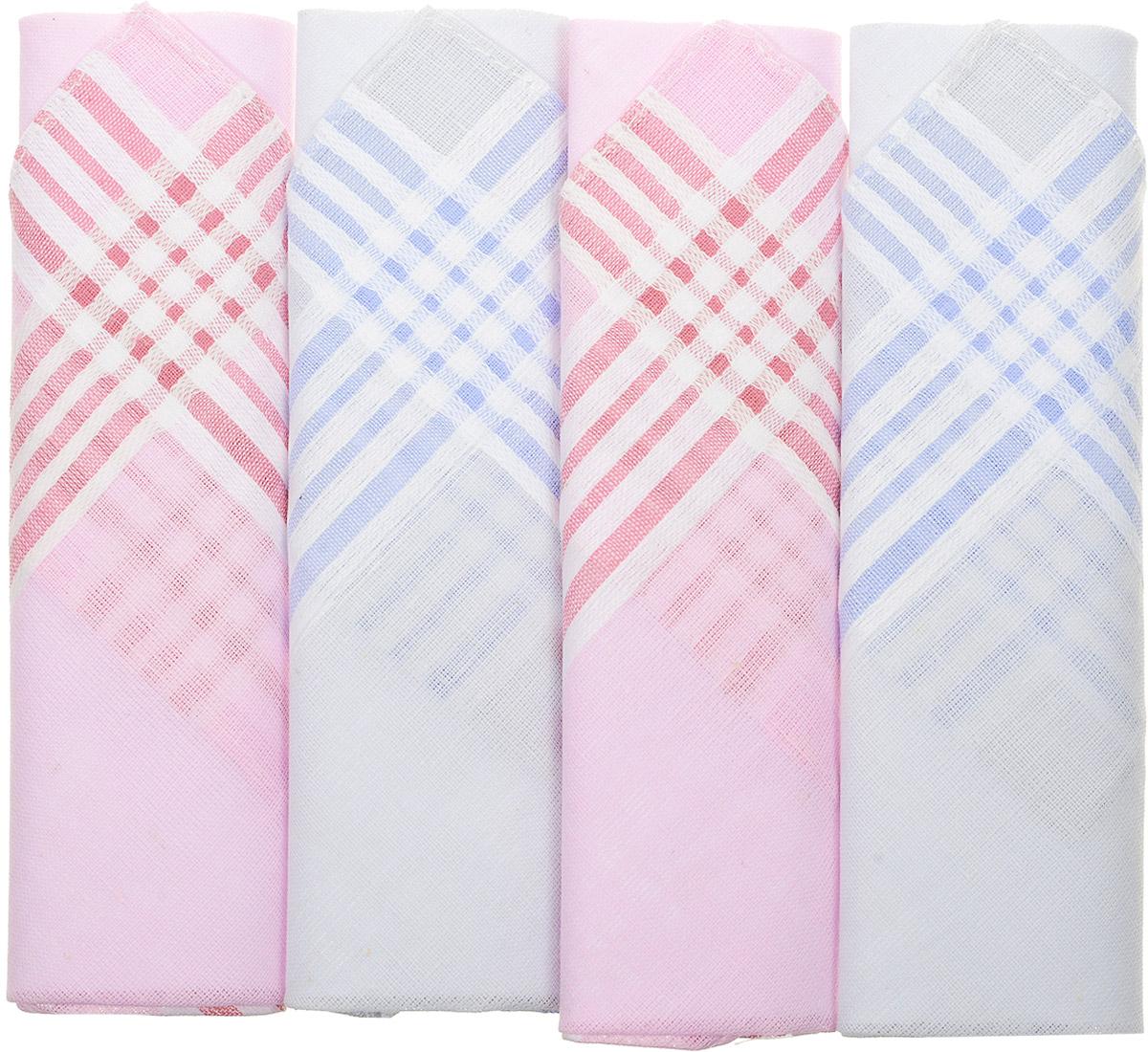 Платок носовой женский Zlata Korunka, цвет: мультиколор, 4 шт. 71420-23. Размер 28 см х 28 см71420-23