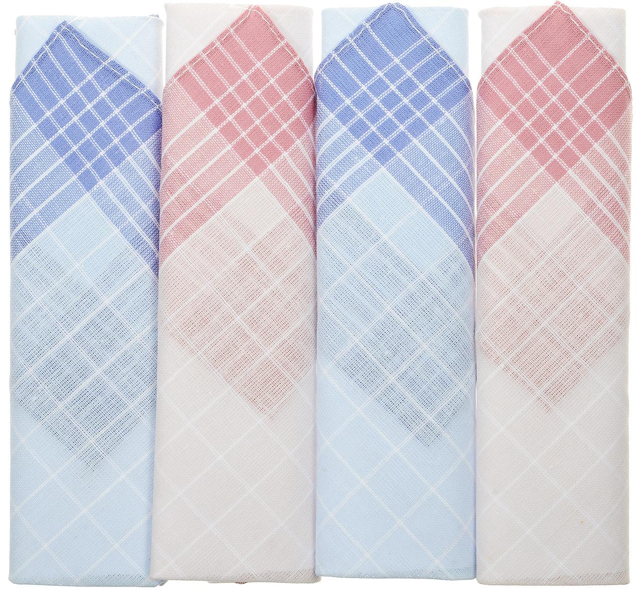 Платок носовой женский Zlata Korunka, цвет: белый, голубой, бордовый, 4 шт. 71420-28. Размер 28 см х 28 см71420-28Оригинальный женский носовой платок Zlata Korunka изготовлен из высококачественного натурального хлопка, благодаря чему приятен в использовании, хорошо стирается, не садится и отлично впитывает влагу. Практичный и изящный носовой платок будет незаменим в повседневной жизни любого современного человека. Такой платок послужит стильным аксессуаром и подчеркнет ваше превосходное чувство вкуса.