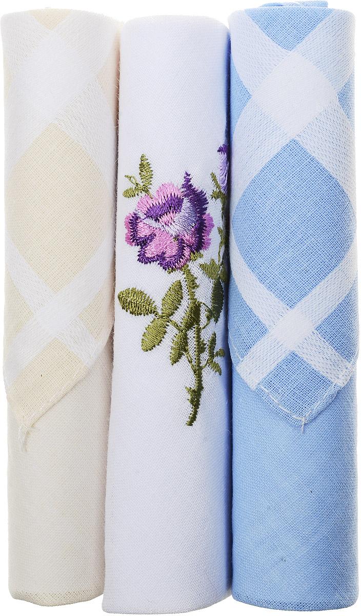 Платок носовой женский Zlata Korunka, цвет: бежевый, белый, голубой, 3 шт. 40423-86. Размер 28 см х 28 см40423-86Небольшой женский носовой платок Zlata Korunka изготовлен из высококачественного натурального хлопка, благодаря чему приятен в использовании, хорошо стирается, не садится и отлично впитывает влагу. Практичный и изящный носовой платок будет незаменим в повседневной жизни любого современного человека. Такой платок послужит стильным аксессуаром и подчеркнет ваше превосходное чувство вкуса. В комплекте 3 платка.