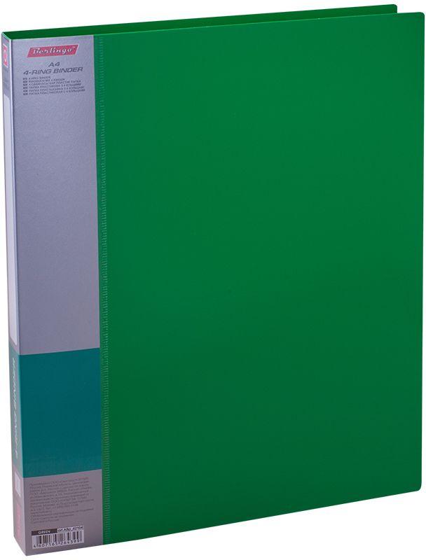 Berlingo Папка на 4-х кольцах Standard цвет зеленыйABp_42104Надежный кольцевой механизм. Материал - плотный пластик. Сменная этикета для маркировки на корешке, дополнительный внутренний карман. Яркие насыщенные цвета. Индивидуальная упаковка в пленку.