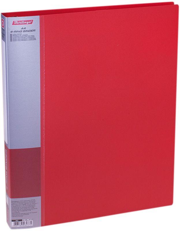 Berlingo Папка на 4-х кольцах Standard цвет красныйABp_42103Для хранения перфорированных документов, изготовлена из пластика. Кольцевой механизм надежно держит документы. В ассортименте классические офисные цвета.