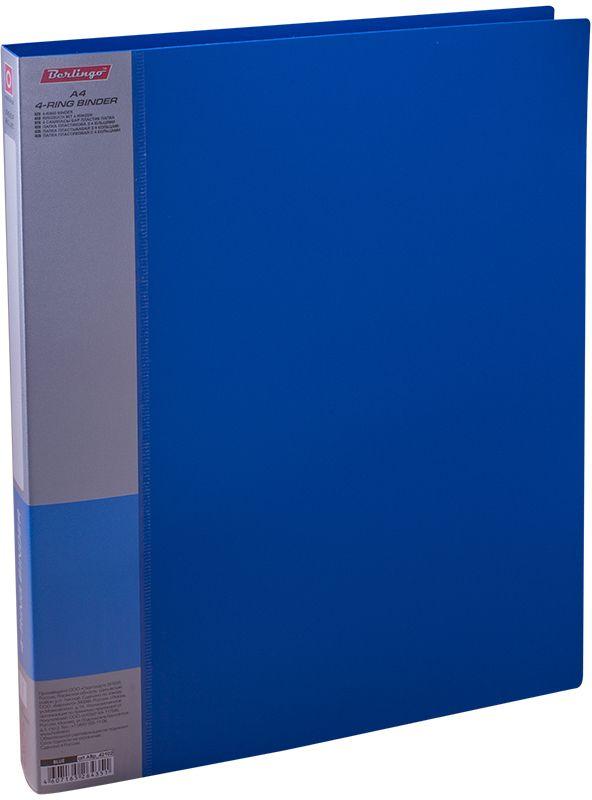 Berlingo Папка на 4-х кольцах Standard цвет синийABp_42102Для хранения перфорированных документов, изготовлена из пластика. Кольцевой механизм надежно держит документы. В ассортименте классические офисные цвета.