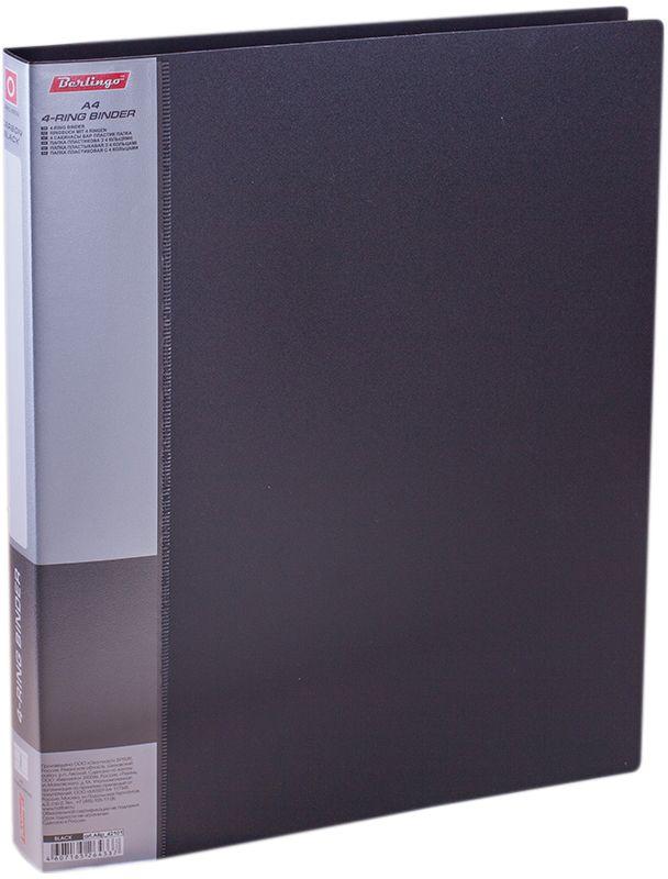 Berlingo Папка на 4-х кольцах Standard цвет черныйABp_42101Для хранения перфорированных документов, изготовлена из пластика. Кольцевой механизм надежно держит документы. В ассортименте классические офисные цвета.