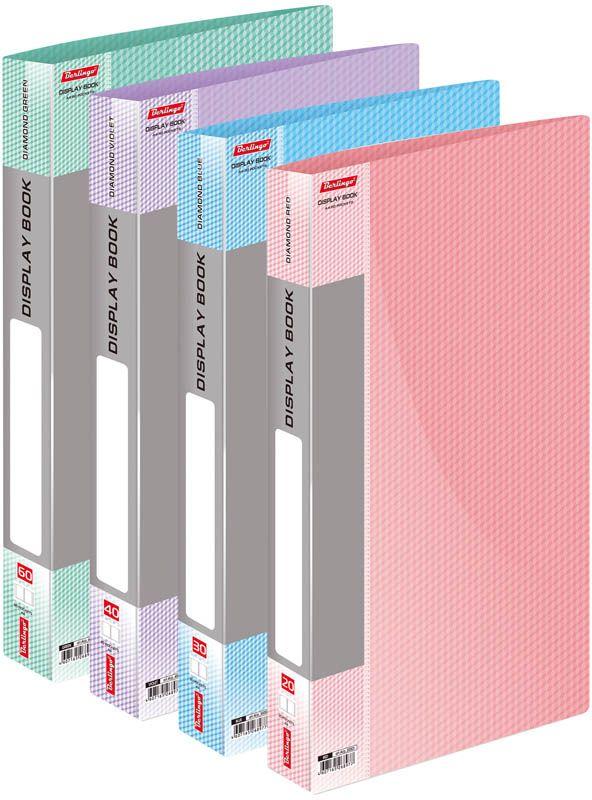 Berlingo Папка Diamond с 20 вкладышами цвет красныйAVp_20003Функциональная папка «Diamond» с прозрачными вкладышами удобна для хранения и демонстрации документов А4. На папках предусмотрена сменная этикетка на корешке для маркировки. Изготовлены из фактурного полупрозрачного пластика. Индивидуальная упаковка в пакет. Изготовлена из плотного пластика (толщина - 0,7 мм).