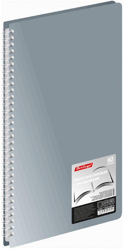 Berlingo Папка Standard на гребне с 60 вкладышами цвет серыйAVg_60008
