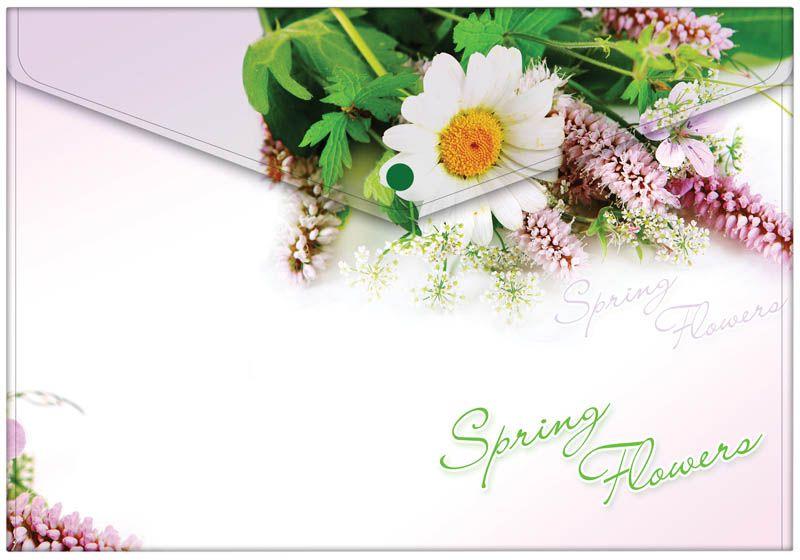 Berlingo Папка-конверт на кнопке Spring FlowersAKk_04031Папка-конверт на кнопке. Горизонтальная ориантация. Изготовлена из непрозрачного пластика высокого качетства с ярким стильным рисунком . Плотно закрывается на кнопку. Кнопка рассчитана на ежедневное использование.