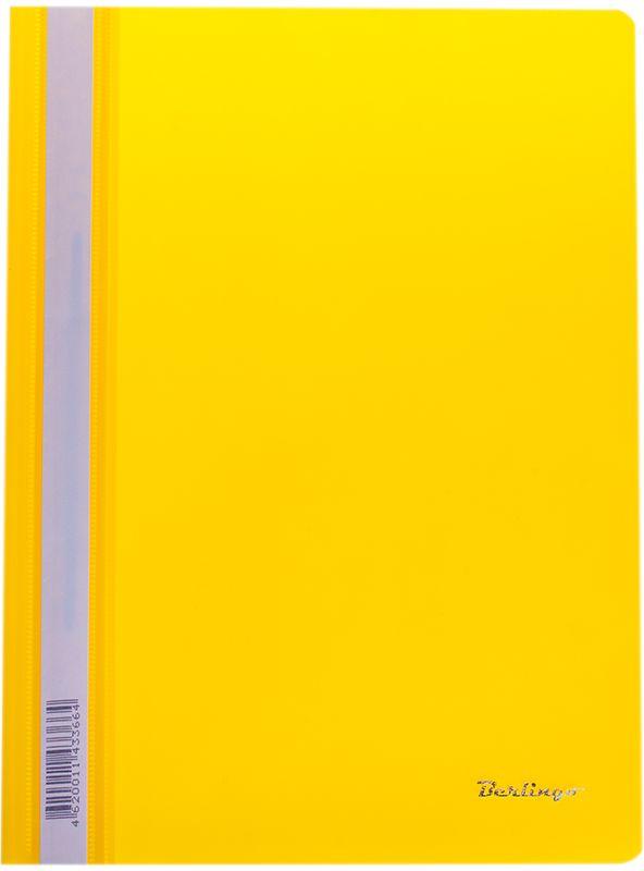 Berlingo Папка-скоросшиватель цвет желтый 20 штASp_04805Папка-скоросшиватель с прозрачным верхним листом. Для бережного хранения перфорированных документов А4. Изготовлена из плотного пластика толщиной 180 мкм. Яркие насыщенные цвета. Усиленный пластиковый корешок с индексной полосой для размещения информации выполнен из бумаги для удобства размещения информации. На индексной полосе размещен индивидуальный ШК.