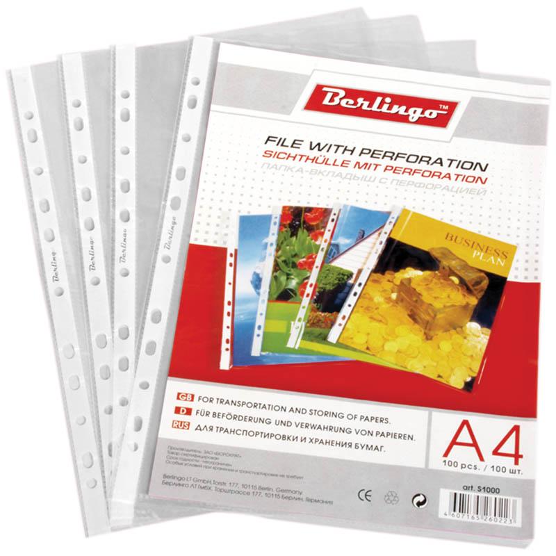 Berlingo Файл-вкладыш с перфорацией глянцевая формат А4 100 шт S1000S1000Файл-вкладыш Berlingo формата А4 с универсальной перфорацией с глянцевой поверхностью, идеально подходит для подшивки бумаг в архивные папки без перфорирования дыроколом, и просто для хранения различных документов. В наборе 20 штук файлов-вкладышей. Каждый файл изготовлен из высококачественного пластика в прозрачном цвете. С файлами-вкладышами все ваши документы будут всегда в безопасности.