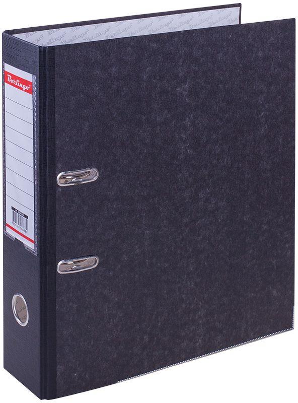 Berlingo Папка-регистратор цвет мраморный черный AM4710AM4710Обложка из жесткого износостойкого картона с односторонним покрытием из бумвинила. Конструкция разработана с учетом всех особенностей эксплуатации. Выгодно отличаются надежным арочным механизмом из качественного металла, наличием кармана на корешке со сменным информационным ярлыком для маркировки, полем для записей на внутренней стороне обложки, отверстием для удобного снятия папки с полки. Цвета в ассортименте.
