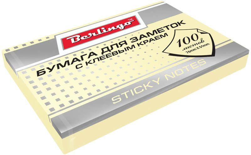 Berlingo Бумага для заметок с липким слоем цвет желтый 7,6 х 5,1 см 100 листовHN7651GeБлок бумаги с клеевым краем, рассчитанный на крепление к любой поверхности, не оставляет следов. Спокойные пастельные цвета. Размер блока - 76 ? 51 мм. В блоке 100 листов. Индивидуальная упаковка в пленку.
