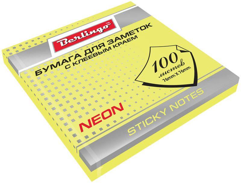 Berlingo Бумага для заметок с липким слоем цвет желтый неон 7,6 х 7,6 см 100 листовHN7676GeNБлок бумаги с клеевым краем рассчитанный на крепление к любой поверхности, не оставляет следов. Яркие неоновые цвета. Размер блока - 76 ? 76 мм. В блоке 100 листов. Индивидуальная упаковка в пленку.