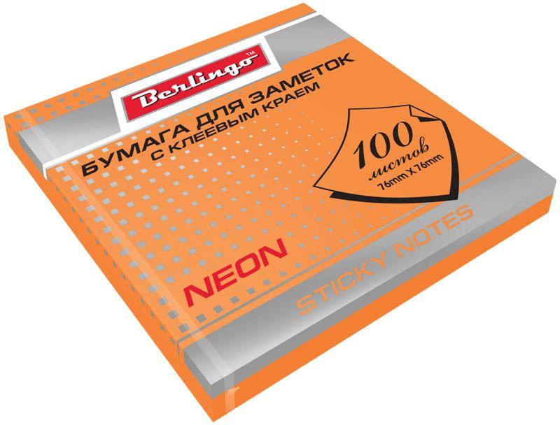 Berlingo Бумага для заметок с липким слоем цвет оранжевый неон 7,6 х 7,6 см 100 листов