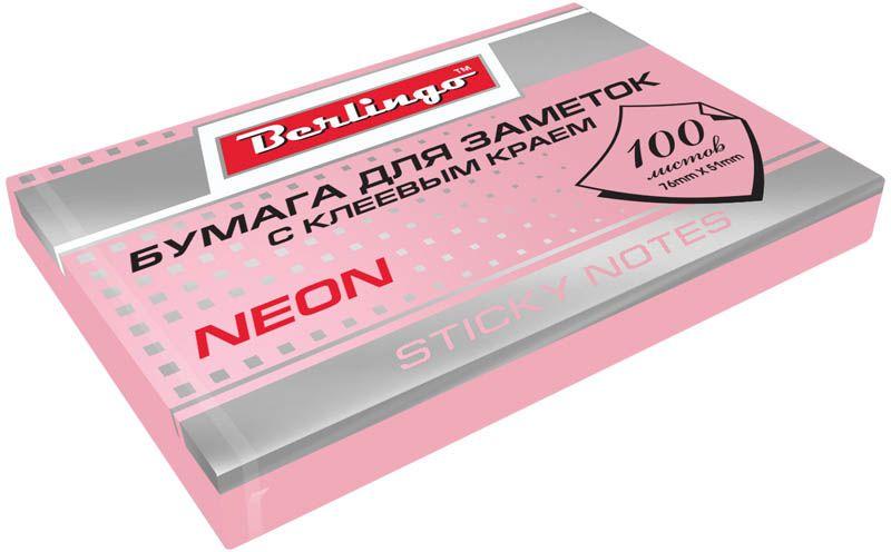 Berlingo Бумага для заметок с липким слоем цвет розовый неон 7,6 х 5,1 см 100 листов