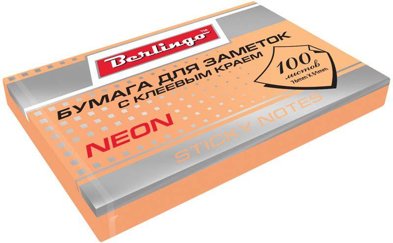 Berlingo Бумага для заметок с липким слоем цвет оранжевый неон 7,6 х 5,1 см 100 листов