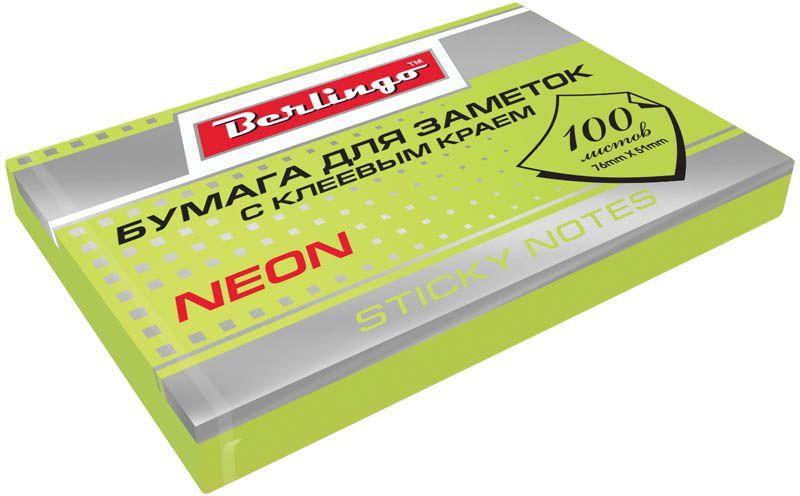 Berlingo Бумага для заметок с липким слоем цвет зеленый неон 7,6 х 5,1 см 100 листов
