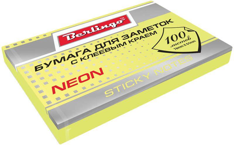 Berlingo Бумага для заметок с липким краем 7,6 х 5,1 см цвет желтый неон 100 листовHN7651GeNБумага для заметок с липким краем Berlingo - это удобное и практическое решение для быстрой записи информации дома или на работе. Блок бумаги с клеевым краем рассчитанный на крепление к любой поверхности, не оставляет следов. Блок имеет яркий неоновый желтый цвет. Размер блока - 76 х 51 мм. В блоке 100 листов.