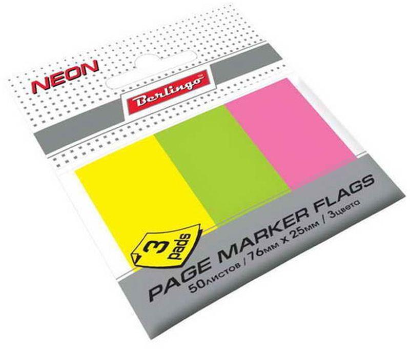 Berlingo Бумага для заметок 50 листовLSz_76251Самоклеящиеся бумажные флажки-закладки ярких неоновых цветов. Подходят для крепления на любой поверхности. Легко отклеиваются не оставляя следов. 3 цвета, размер 76 х 25 мм. В блоке 50 листов.