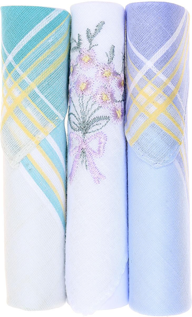 Платок носовой женский Zlata Korunka, цвет: бирюзовый, белый, голубой, 3 шт. 40423-112. Размер 28 см х 28 см40423-112Небольшой женский носовой платок Zlata Korunka изготовлен из высококачественного натурального хлопка, благодаря чему приятен в использовании, хорошо стирается, не садится и отлично впитывает влагу. Практичный и изящный носовой платок будет незаменим в повседневной жизни любого современного человека. Такой платок послужит стильным аксессуаром и подчеркнет ваше превосходное чувство вкуса. В комплекте 3 платка.