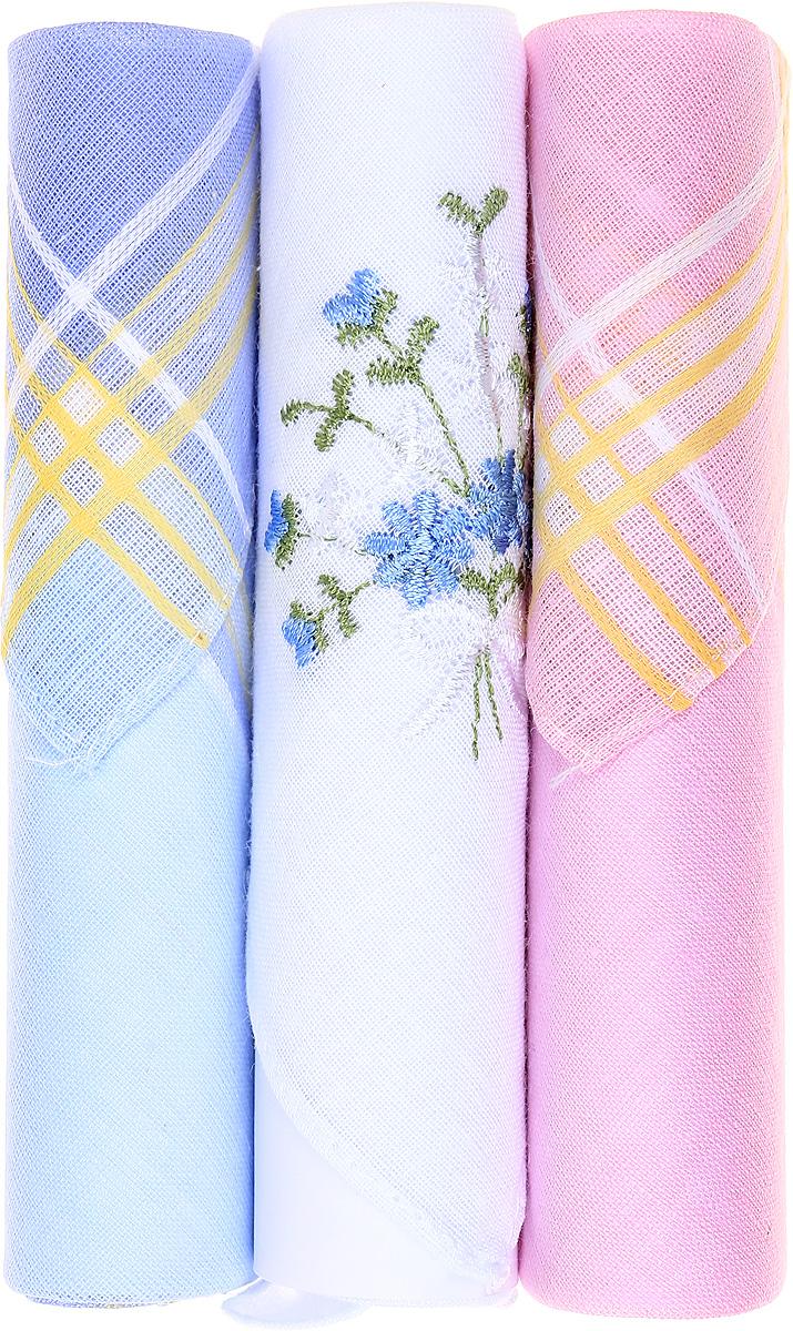 Платок носовой женский Zlata Korunka, цвет: голубой, белый, розовый, 3 шт. 40423-64. Размер 28 см х 28 см40423-64Небольшой женский носовой платок Zlata Korunka изготовлен из высококачественного натурального хлопка, благодаря чему приятен в использовании, хорошо стирается, не садится и отлично впитывает влагу. Практичный и изящный носовой платок будет незаменим в повседневной жизни любого современного человека. Такой платок послужит стильным аксессуаром и подчеркнет ваше превосходное чувство вкуса. В комплекте 3 платка.
