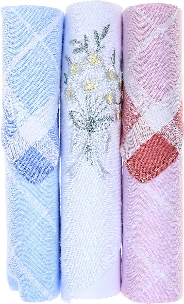 Платок носовой женский Zlata Korunka, цвет: голубой, белый, розовый, 3 шт. 40423-104. Размер 28 см х 28 см40423-104Небольшой женский носовой платок Zlata Korunka изготовлен из высококачественного натурального хлопка, благодаря чему приятен в использовании, хорошо стирается, не садится и отлично впитывает влагу. Практичный и изящный носовой платок будет незаменим в повседневной жизни любого современного человека. Такой платок послужит стильным аксессуаром и подчеркнет ваше превосходное чувство вкуса. В комплекте 3 платка.
