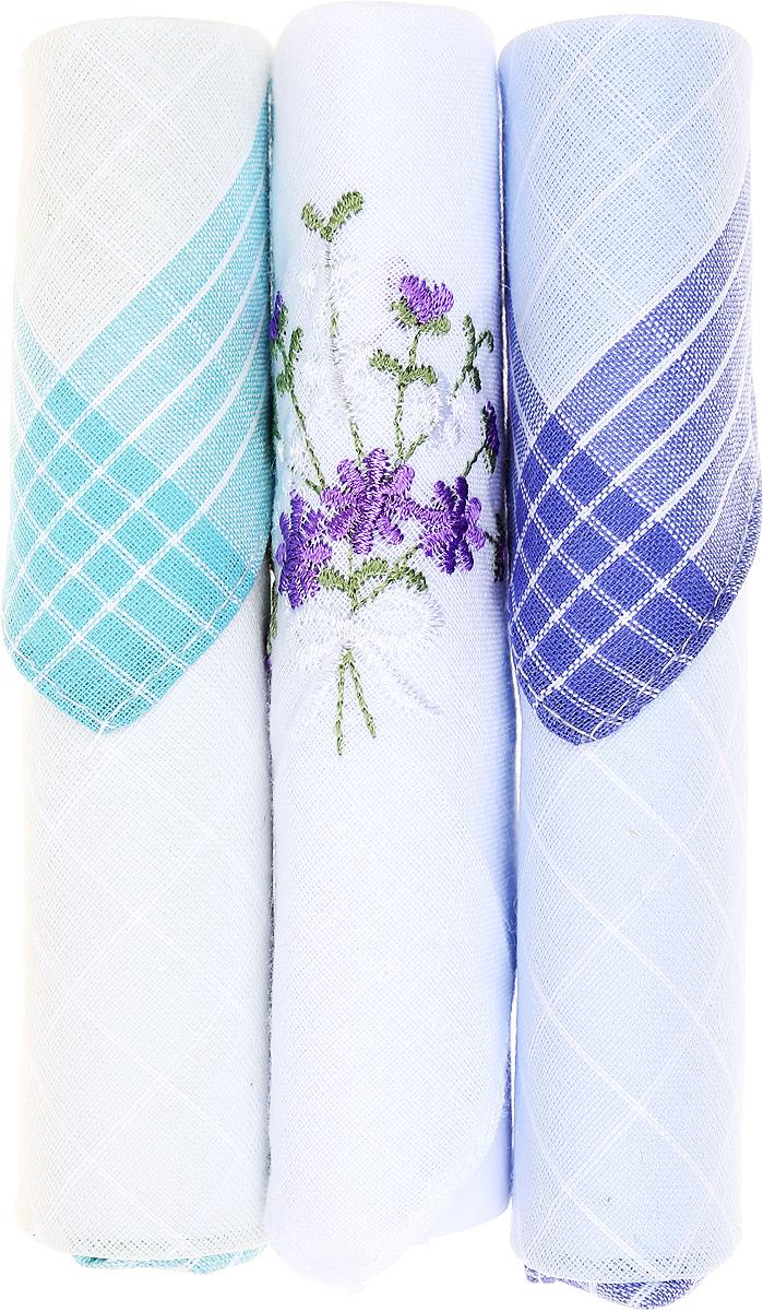 Платок носовой женский Zlata Korunka, цвет: бирюзовый, белый, голубой, 3 шт. 40423-70. Размер 28 см х 28 см40423-70Небольшой женский носовой платок Zlata Korunka изготовлен из высококачественного натурального хлопка, благодаря чему приятен в использовании, хорошо стирается, не садится и отлично впитывает влагу. Практичный и изящный носовой платок будет незаменим в повседневной жизни любого современного человека. Такой платок послужит стильным аксессуаром и подчеркнет ваше превосходное чувство вкуса. В комплекте 3 платка.
