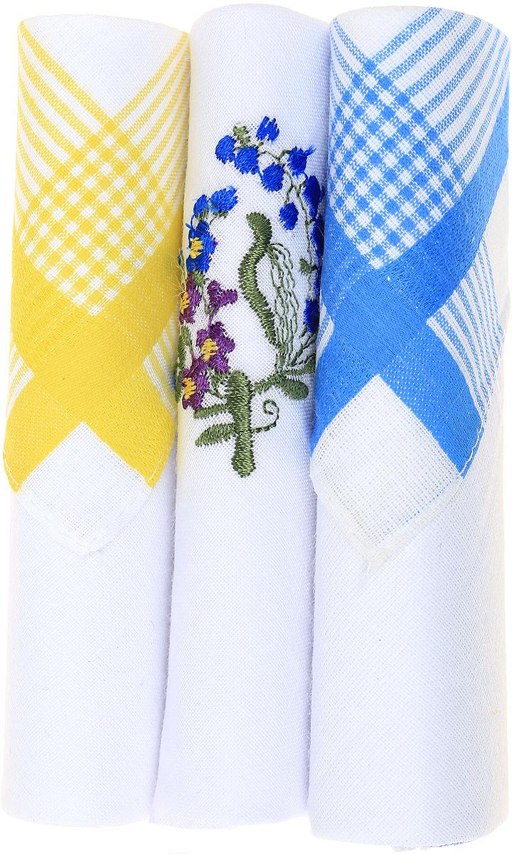 Платок носовой женский Zlata Korunka, цвет: желтый, белый, голубой, 3 шт. 40423-81. Размер 28 см х 28 см40423-81Небольшой женский носовой платок Zlata Korunka изготовлен из высококачественного натурального хлопка, благодаря чему приятен в использовании, хорошо стирается, не садится и отлично впитывает влагу. Практичный и изящный носовой платок будет незаменим в повседневной жизни любого современного человека. Такой платок послужит стильным аксессуаром и подчеркнет ваше превосходное чувство вкуса. В комплекте 3 платка.