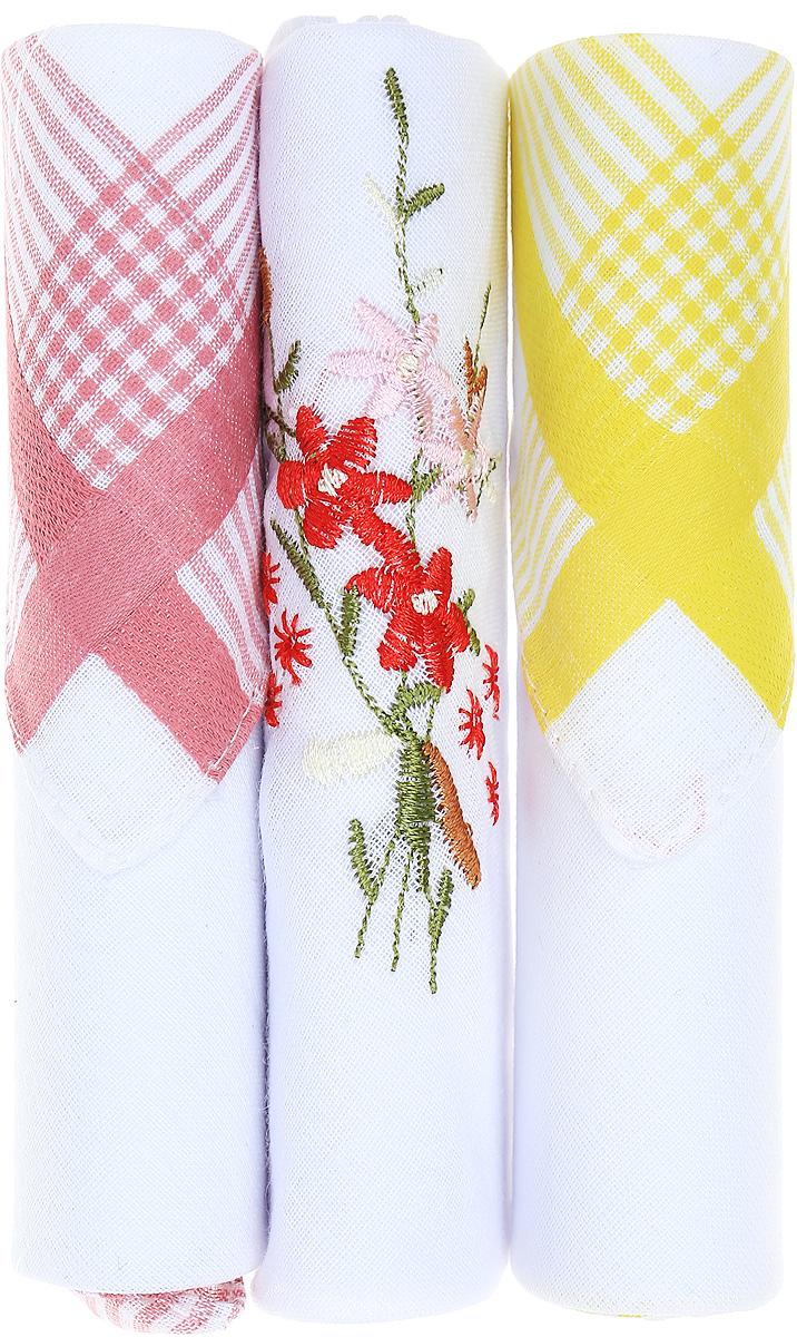 Платок носовой женский Zlata Korunka, цвет: розовый, белый, желтый, 3 шт. 40423-63. Размер 28 см х 28 см40423-63Небольшой женский носовой платок Zlata Korunka изготовлен из высококачественного натурального хлопка, благодаря чему приятен в использовании, хорошо стирается, не садится и отлично впитывает влагу. Практичный и изящный носовой платок будет незаменим в повседневной жизни любого современного человека. Такой платок послужит стильным аксессуаром и подчеркнет ваше превосходное чувство вкуса. В комплекте 3 платка.