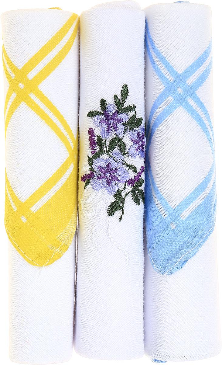 Платок носовой женский Zlata Korunka, цвет: желтый, белый, голубой, 3 шт. 40423-12. Размер 28 см х 28 см40423-12Небольшой женский носовой платок Zlata Korunka изготовлен из высококачественного натурального хлопка, благодаря чему приятен в использовании, хорошо стирается, не садится и отлично впитывает влагу. Практичный и изящный носовой платок будет незаменим в повседневной жизни любого современного человека. Такой платок послужит стильным аксессуаром и подчеркнет ваше превосходное чувство вкуса. В комплекте 3 платка.