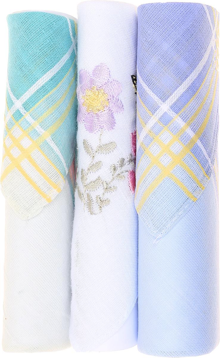 Платок носовой женский Zlata Korunka, цвет: бирюзовый, белый, голубой, 3 шт. 40423-48. Размер 28 см х 28 см40423-48Небольшой женский носовой платок Zlata Korunka изготовлен из высококачественного натурального хлопка, благодаря чему приятен в использовании, хорошо стирается, не садится и отлично впитывает влагу. Практичный и изящный носовой платок будет незаменим в повседневной жизни любого современного человека. Такой платок послужит стильным аксессуаром и подчеркнет ваше превосходное чувство вкуса. В комплекте 3 платка.