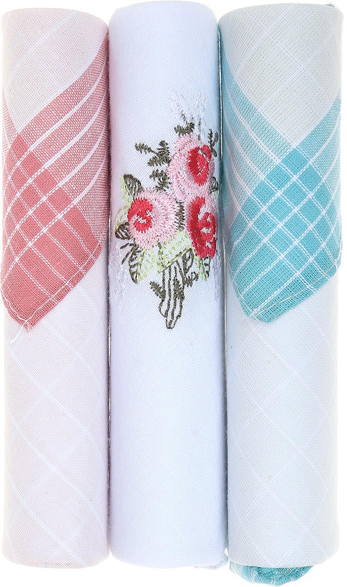 Платок носовой женский Zlata Korunka, цвет: розовый, белый, бирюзовый, 3 шт. 40423-18. Размер 28 см х 28 см40423-18Небольшой женский носовой платок Zlata Korunka изготовлен из высококачественного натурального хлопка, благодаря чему приятен в использовании, хорошо стирается, не садится и отлично впитывает влагу. Практичный и изящный носовой платок будет незаменим в повседневной жизни любого современного человека. Такой платок послужит стильным аксессуаром и подчеркнет ваше превосходное чувство вкуса. В комплекте 3 платка.