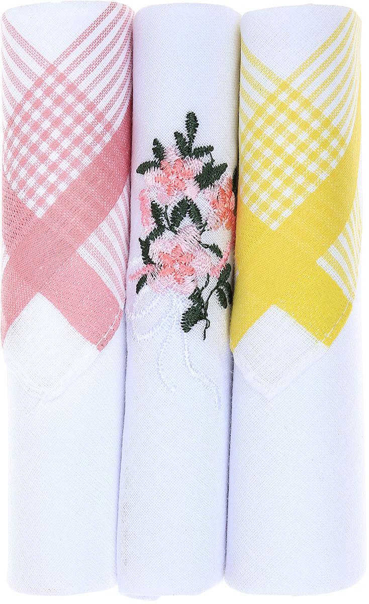 Платок носовой женский Zlata Korunka, цвет: розовый, белый, желтый, 3 шт. 40423-24. Размер 28 см х 28 см40423-24Небольшой женский носовой платок Zlata Korunka изготовлен из высококачественного натурального хлопка, благодаря чему приятен в использовании, хорошо стирается, не садится и отлично впитывает влагу. Практичный и изящный носовой платок будет незаменим в повседневной жизни любого современного человека. Такой платок послужит стильным аксессуаром и подчеркнет ваше превосходное чувство вкуса. В комплекте 3 платка.