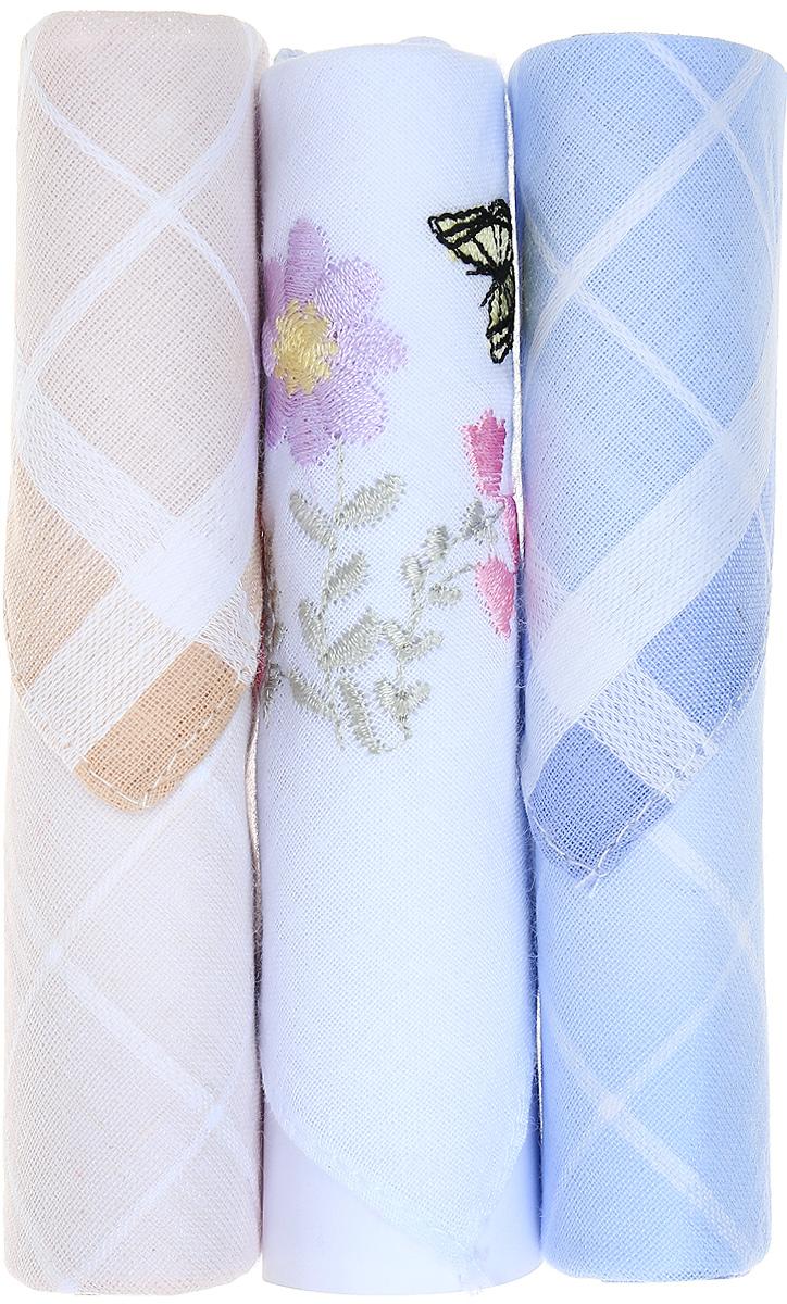 Платок носовой женский Zlata Korunka, цвет: бежевый, белый, голубой, 3 шт. 40423-51. Размер 28 см х 28 см40423-51Небольшой женский носовой платок Zlata Korunka изготовлен из высококачественного натурального хлопка, благодаря чему приятен в использовании, хорошо стирается, не садится и отлично впитывает влагу. Практичный и изящный носовой платок будет незаменим в повседневной жизни любого современного человека. Такой платок послужит стильным аксессуаром и подчеркнет ваше превосходное чувство вкуса. В комплекте 3 платка.