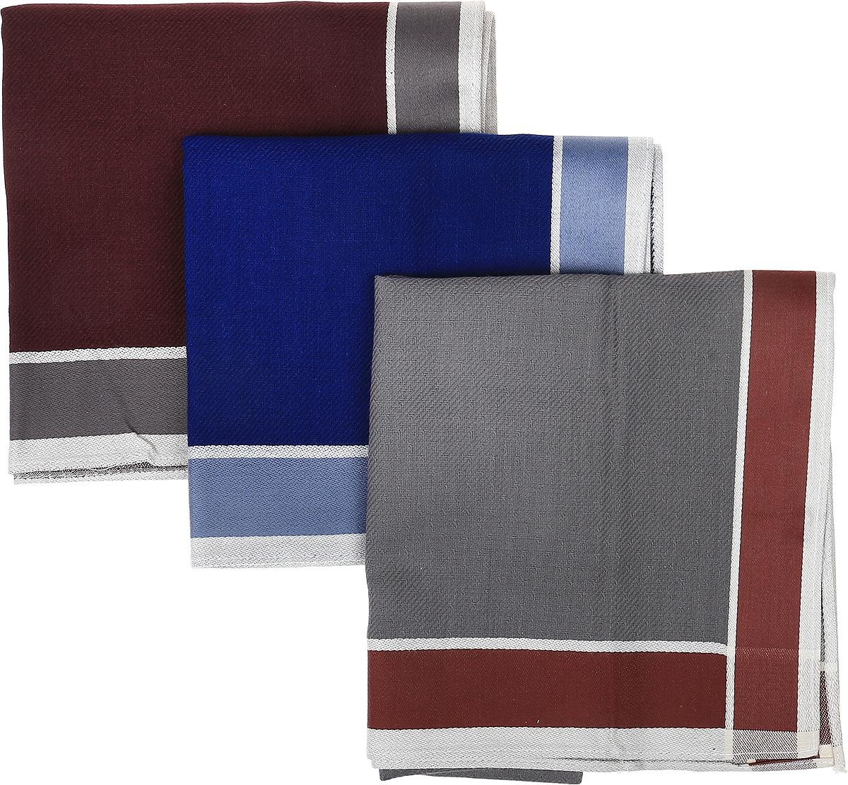 Платок носовой мужской Zlata Korunka, цвет: серый, синий, коричневый, 3 шт. 45687F-3. Размер 43 см х 43 см45687F-3Мужской носовой платой Zlata Korunka изготовлен из натурального хлопка, приятен в использовании, хорошо стирается, материал не садится и отлично впитывает влагу. Оформлена модель контрастным принтом.