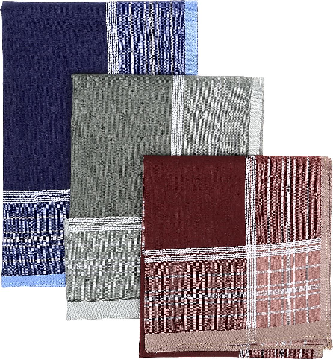 Платок носовой мужской Zlata Korunka, цвет: синий, серый, бордовый, 3 шт. 45687F-1. Размер 43 см х 43 см45687F-1Мужской носовой платой Zlata Korunka изготовлен из натурального хлопка, приятен в использовании, хорошо стирается, материал не садится и отлично впитывает влагу. Оформлена модель контрастным принтом.