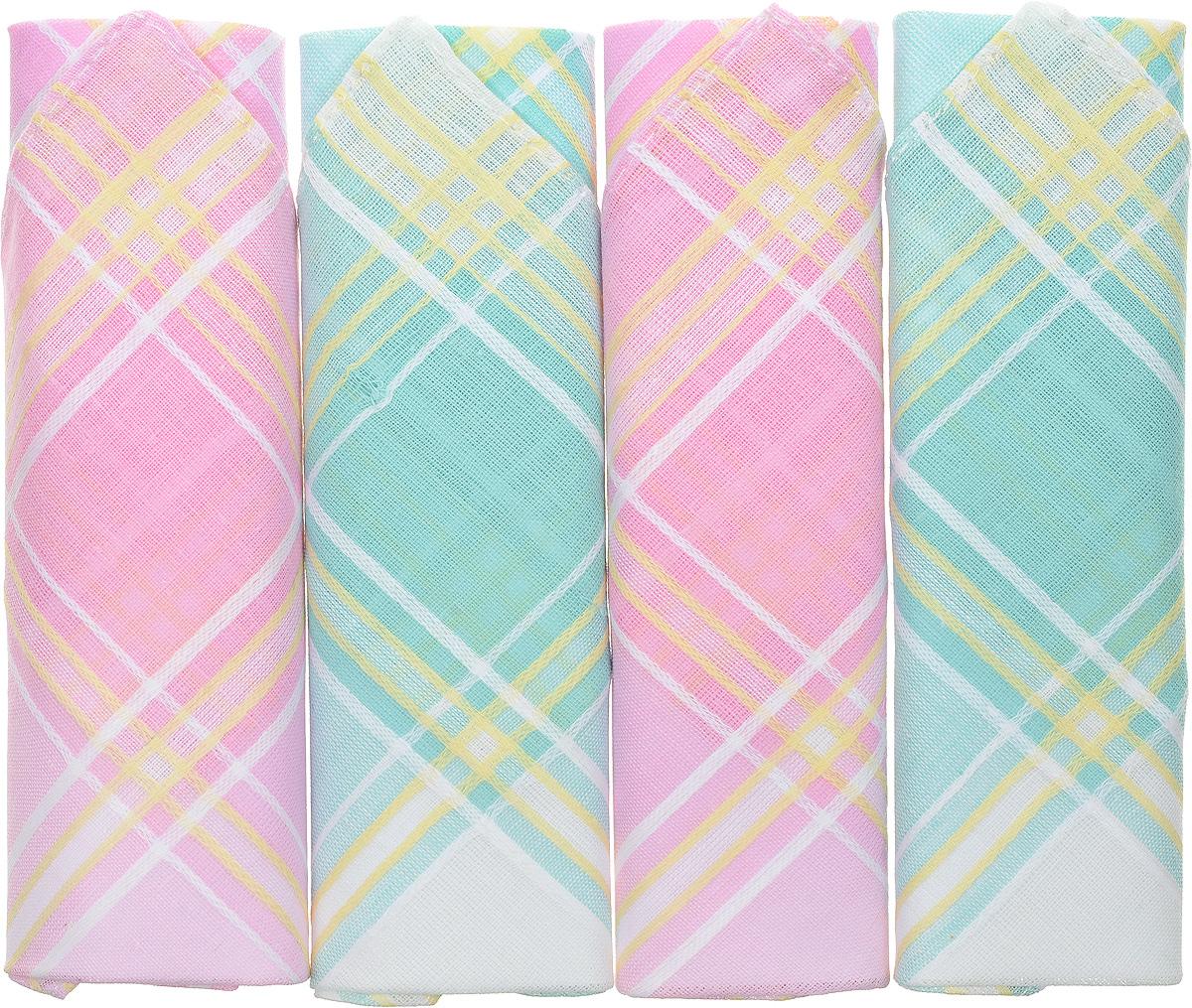 Платок носовой женский Zlata Korunka, цвет: розовый, бирюзовый, 4 шт. 71420-22. Размер 28 см х 28 см71420-22Оригинальный женский носовой платок Zlata Korunka изготовлен из высококачественного натурального хлопка, благодаря чему приятен в использовании, хорошо стирается, не садится и отлично впитывает влагу. Практичный и изящный носовой платок будет незаменим в повседневной жизни любого современного человека. Такой платок послужит стильным аксессуаром и подчеркнет ваше превосходное чувство вкуса.