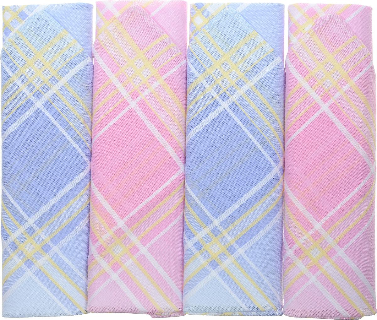 Платок носовой женский Zlata Korunka, цвет: мультиколор, 4 шт. 71420-24. Размер 28 см х 28 см71420-24