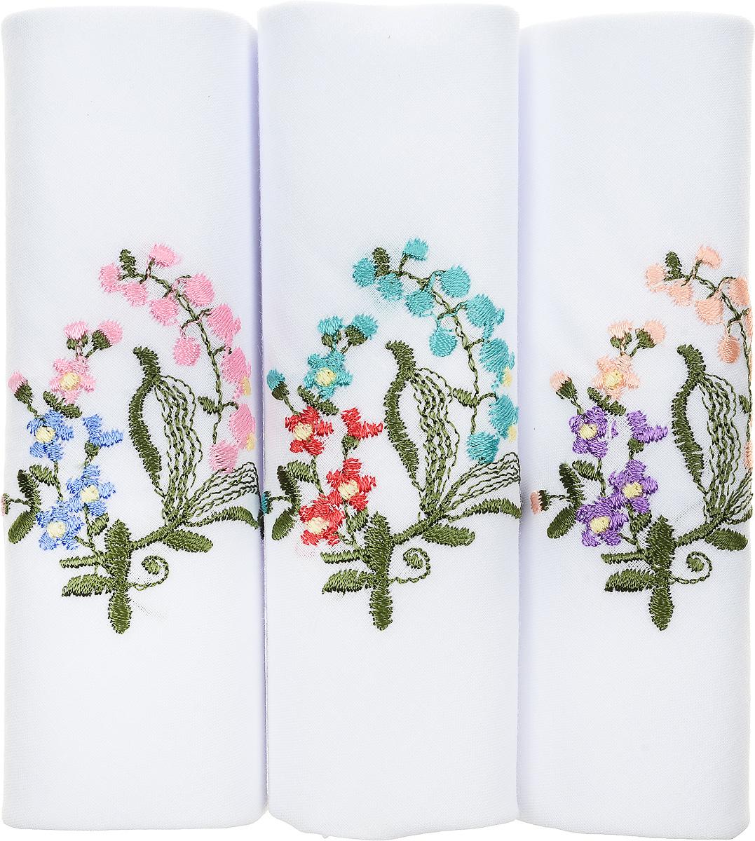 Платок носовой женский Zlata Korunka, цвет: мультиколор, 3 шт. 40320-4. Размер 43 см х 43 см40320-4