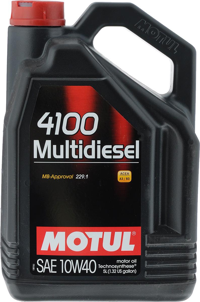 Масло моторное Motul 4100 Multidiesel. Technosynthese, синтетическое, 10W-40, 5 л100261Моторное масло для дизельных и турбодизельных автомобилей Technosynthese. Специально разработано для автомобилей с дизельными двигателями. Все современные дизельные двигатели и двигатели предыдущего поколения, в том числе с турбонаддувом. ACEA Стандарты: A3/B3 API Стандарты: API CF Одобрения: MB-Approval 229.1.