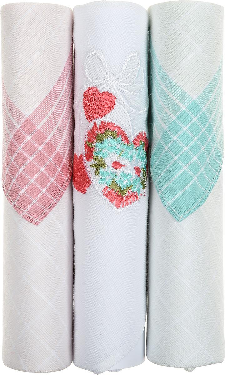 Платок носовой женский Zlata Korunka, цвет: розовый, белый, бирюзовый, 3 шт. 40423-20. Размер 28 см х 28 см40423-20Небольшой женский носовой платок Zlata Korunka изготовлен из высококачественного натурального хлопка, благодаря чему приятен в использовании, хорошо стирается, не садится и отлично впитывает влагу. Практичный и изящный носовой платок будет незаменим в повседневной жизни любого современного человека. Такой платок послужит стильным аксессуаром и подчеркнет ваше превосходное чувство вкуса. В комплекте 3 платка.