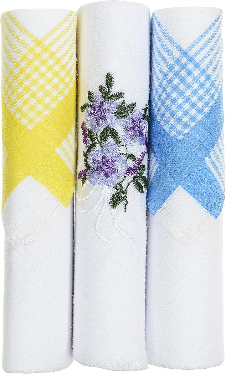 Платок носовой женский Zlata Korunka, цвет: белый, желтый, голубой, 3 шт. 40423-22. Размер 28 см х 28 см40423-22Небольшой женский носовой платок Zlata Korunka изготовлен из высококачественного натурального хлопка, благодаря чему приятен в использовании, хорошо стирается, не садится и отлично впитывает влагу. Практичный и изящный носовой платок будет незаменим в повседневной жизни любого современного человека. Такой платок послужит стильным аксессуаром и подчеркнет ваше превосходное чувство вкуса. В комплекте 3 платка.
