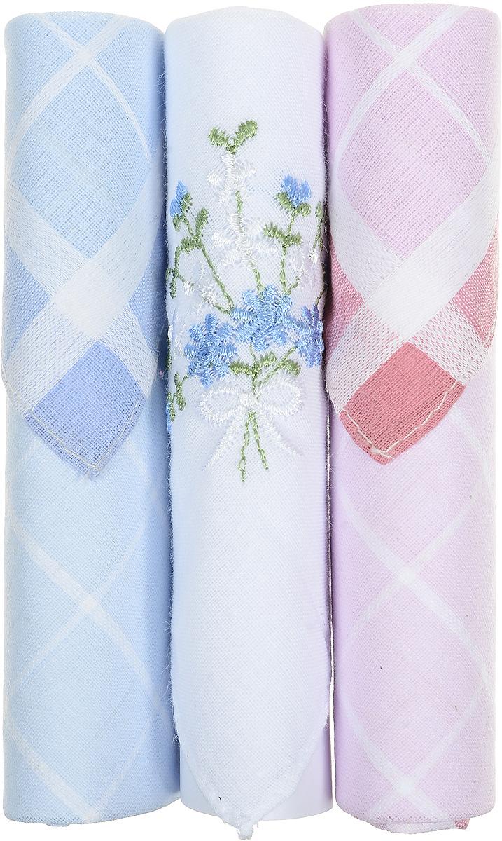 Платок носовой женский Zlata Korunka, цвет: голубой, белый, розовый, 3 шт. 40423-74. Размер 28 см х 28 см40423-74Небольшой женский носовой платок Zlata Korunka изготовлен из высококачественного натурального хлопка, благодаря чему приятен в использовании, хорошо стирается, не садится и отлично впитывает влагу. Практичный и изящный носовой платок будет незаменим в повседневной жизни любого современного человека. Такой платок послужит стильным аксессуаром и подчеркнет ваше превосходное чувство вкуса. В комплекте 3 платка.