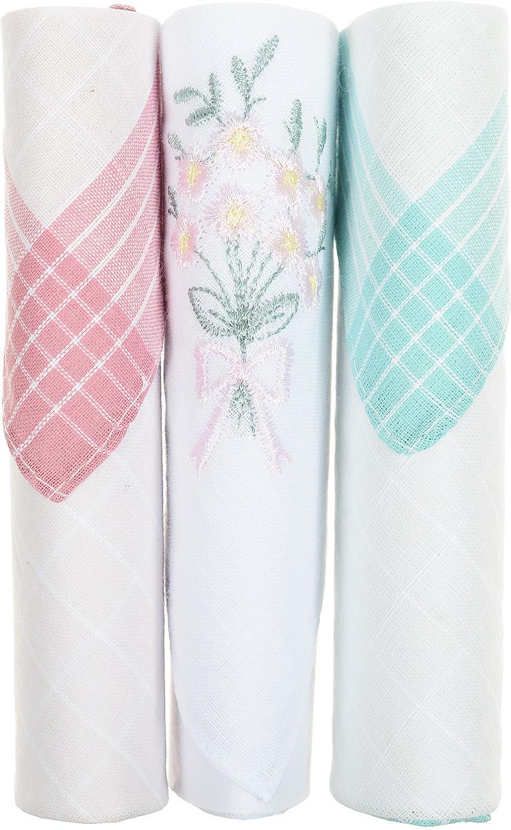 Платок носовой женский Zlata Korunka, цвет: розовый, белый, бирюзовый, 3 шт. 40423-101. Размер 28 см х 28 см40423-101Небольшой женский носовой платок Zlata Korunka изготовлен из высококачественного натурального хлопка, благодаря чему приятен в использовании, хорошо стирается, не садится и отлично впитывает влагу. Практичный и изящный носовой платок будет незаменим в повседневной жизни любого современного человека. Такой платок послужит стильным аксессуаром и подчеркнет ваше превосходное чувство вкуса. В комплекте 3 платка.