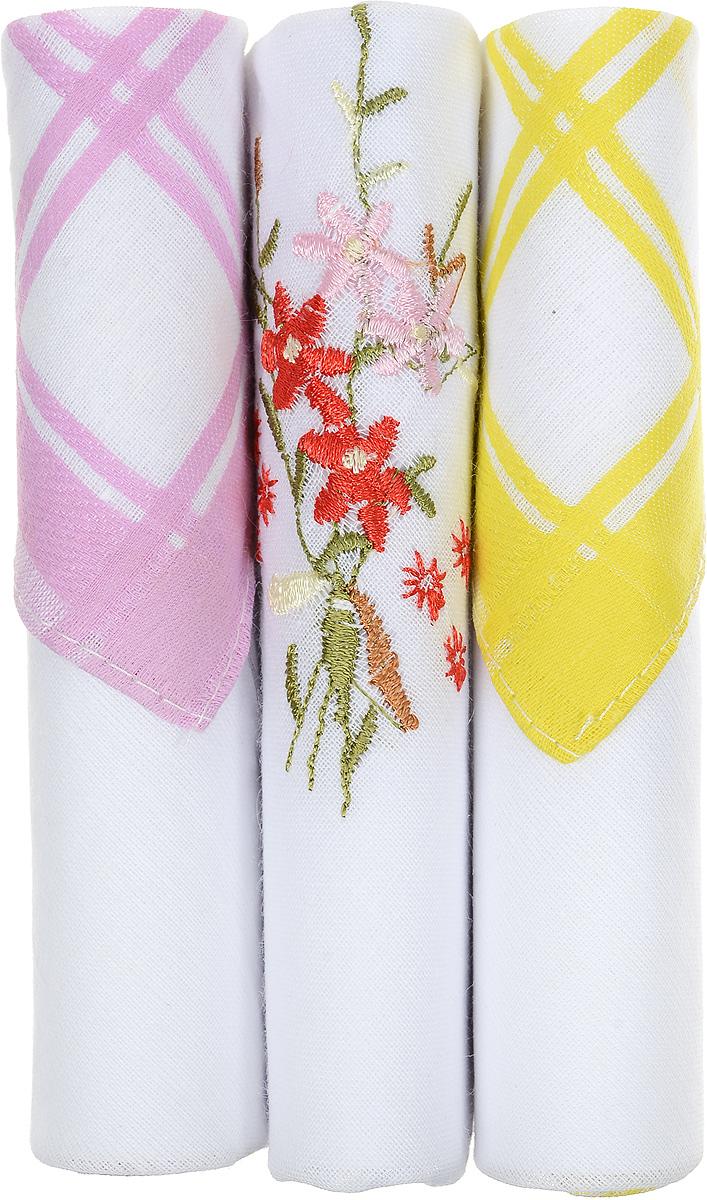 Платок носовой женский Zlata Korunka, цвет: розовый, белый, желтый, 3 шт. 40423-25. Размер 28 см х 28 см40423-25Небольшой женский носовой платок Zlata Korunka изготовлен из высококачественного натурального хлопка, благодаря чему приятен в использовании, хорошо стирается, не садится и отлично впитывает влагу. Практичный и изящный носовой платок будет незаменим в повседневной жизни любого современного человека. Такой платок послужит стильным аксессуаром и подчеркнет ваше превосходное чувство вкуса. В комплекте 3 платка.