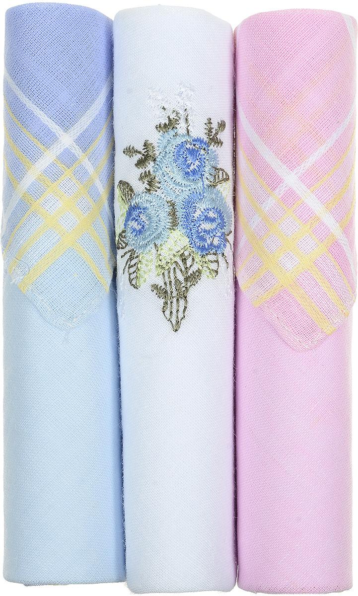 Платок носовой женский Zlata Korunka, цвет: голубой, белый, розовый, 3 шт. 40423-59. Размер 28 см х 28 см40423-59Небольшой женский носовой платок Zlata Korunka изготовлен из высококачественного натурального хлопка, благодаря чему приятен в использовании, хорошо стирается, не садится и отлично впитывает влагу. Практичный и изящный носовой платок будет незаменим в повседневной жизни любого современного человека. Такой платок послужит стильным аксессуаром и подчеркнет ваше превосходное чувство вкуса. В комплекте 3 платка.