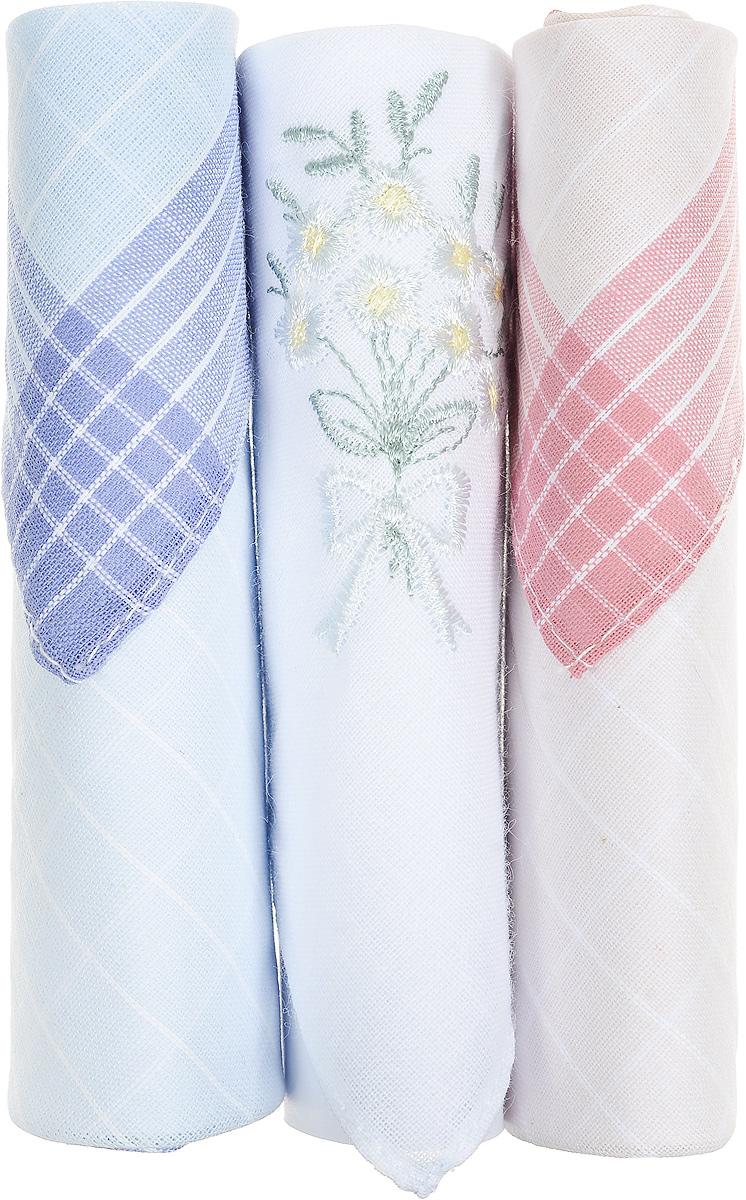 Платок носовой женский Zlata Korunka, цвет: голубой, белый, розовый, 3 шт. 40423-100. Размер 28 см х 28 см40423-100Небольшой женский носовой платок Zlata Korunka изготовлен из высококачественного натурального хлопка, благодаря чему приятен в использовании, хорошо стирается, не садится и отлично впитывает влагу. Практичный и изящный носовой платок будет незаменим в повседневной жизни любого современного человека. Такой платок послужит стильным аксессуаром и подчеркнет ваше превосходное чувство вкуса. В комплекте 3 платка.