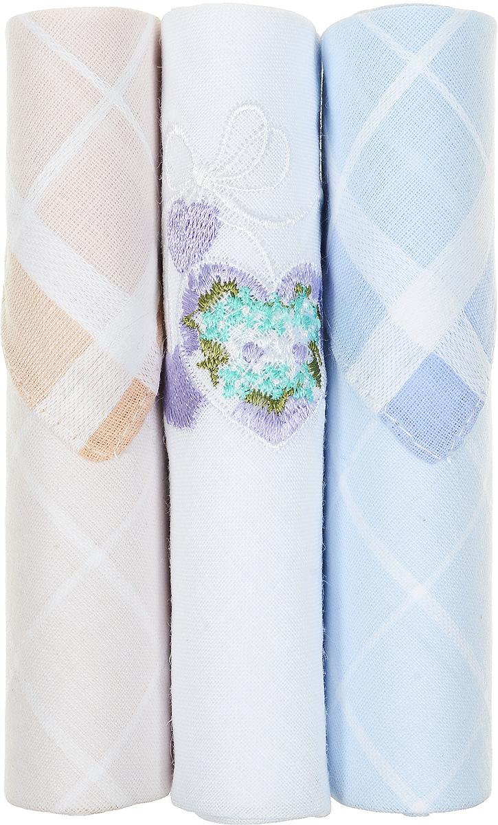 Платок носовой женский Zlata Korunka, цвет: бежевый, белый, голубой, 3 шт. 40423-15. Размер 28 см х 28 см40423-15Небольшой женский носовой платок Zlata Korunka изготовлен из высококачественного натурального хлопка, благодаря чему приятен в использовании, хорошо стирается, не садится и отлично впитывает влагу. Практичный и изящный носовой платок будет незаменим в повседневной жизни любого современного человека. Такой платок послужит стильным аксессуаром и подчеркнет ваше превосходное чувство вкуса. В комплекте 3 платка.